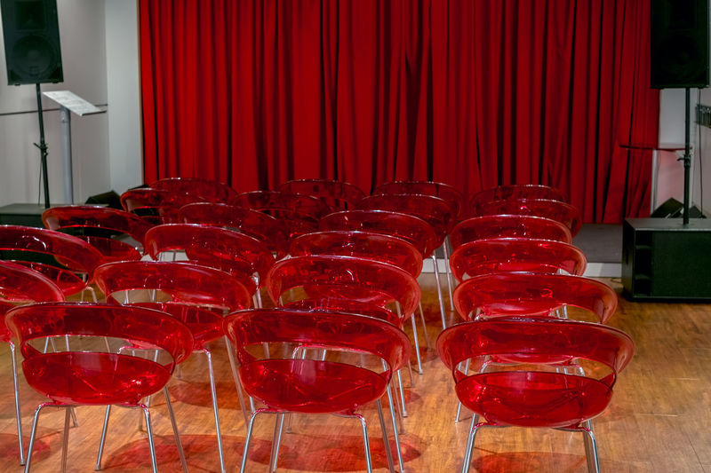 the presentation room Audio Equipment BoardRoom Event Meeting Presentation Room Alcohol Auditorium Conference - Event Conference Room Curtain Day Drink Drinking Glass Education Empty Food And Drink Freshness Indoors  No People Presentation Red Red Chairs Refreshment Seminar Wine Wineglass