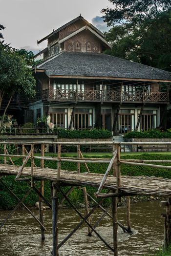 Bamboo Bamboo Bridge Bridge House Pai River Teak House Thailand Wooden Wooden House