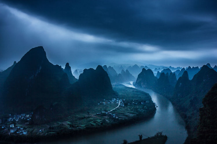 Beauty In Nature China Cloud - Sky Hills Landscape Morning Mountain Mountain Range Mountains Nature Nature No People Outdoors Rain River Scenics Sky