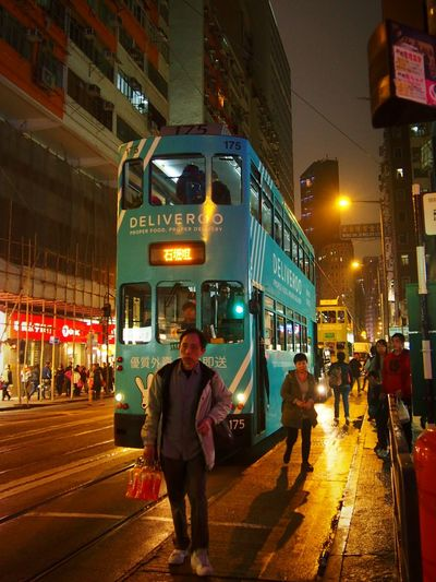 Hongkong Cities At Night Mobilephotography Street Photography Tramcars People Walking  Capture The Moment