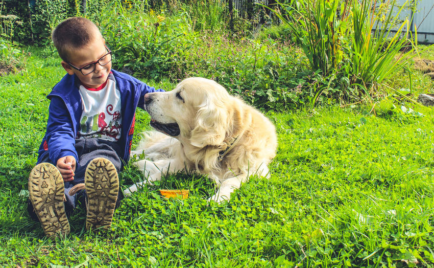 Animal Themes Childhood Day Dog Domestic Animals Eyeglasses  Friendship Grass Green Color Happiness Leisure Activity Lifestyles Mammal Nature One Animal One Person Outdoors People Pets Real People Sitting Smiling Young Adult