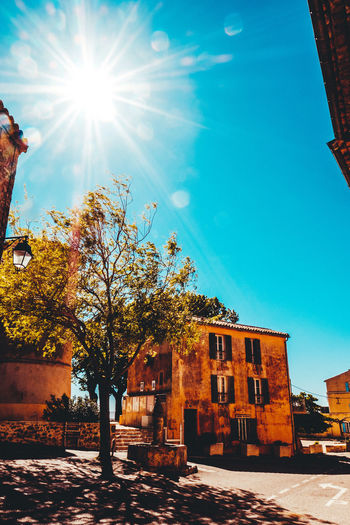Architecture Building Exterior Built Structure Day Lens Flare Nature No Clouds No People No People Outdoors No People, Old Buildings Old Town Outdoors Sky Sun Sunbeam Sunbeams Sunflare Sunlight Sunlight Sunrays Tree Village Life Village View