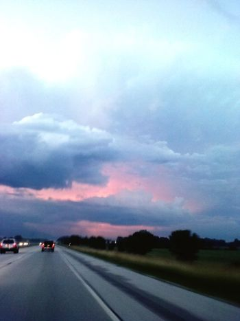 Beautiful skyscape Car Road Cloud - Sky Transportation Sunset Highway Dramatic Sky The Way Forward Land Vehicle Nature Sky Scenics No People Beauty In Nature Outdoors Day