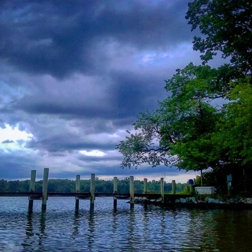 Pier On The Water Kayaking In The Rain Water Reflections Stormy Weather Storm Clouds Beautiful Colors No People My Backyard Oasis California MD USA