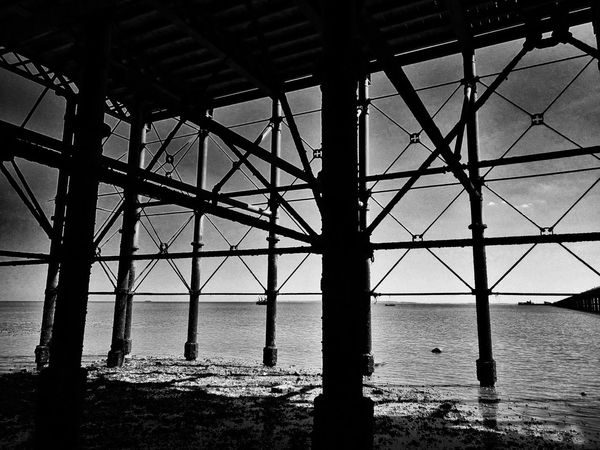 Under Southend Pier. Southend On Sea Southend Southend Pier Southendonsea Pier Structure Structure In Silouette Seaside Seaview Sea View Seafront British Seaside Blackandwhite Black And White Black & White Blackandwhite Photography Silouette Metal Structure Angles Angles And Lines