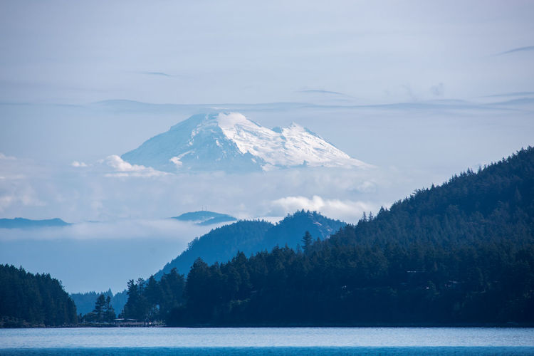 Cloud Copy Space Foothills Pacific Northwest  Salish Sea Clouds Fog Foggy Full Frame Glacier Landscape Mount Baker Mountain Mountain Peak Nature No People Outdoors Pacifc Northwest San Juan Islands Sky Snow Snowcapped Mountain Volcano Water
