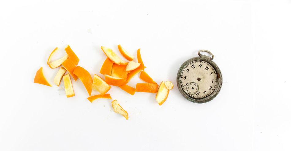 Orange Close-up Freshness Fruit No People Peel Peels Studio Shot Tangerine Time Top View Vitamin White Background