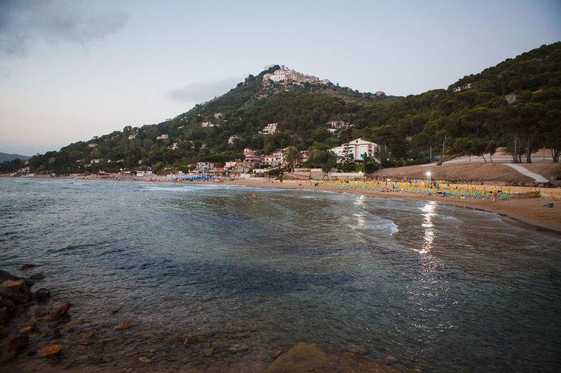 View of Castellabate town from the beach Beach Beauty In Nature Campania Castellabate Evening Italy Mountain Nature Salerno Scenics Sea Water Waterfront