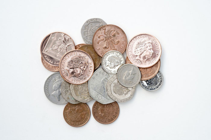 UK coins British Close Up Close-up Coin Coins Currency Detail Directly Above English Finance Large Group Of Objects Metal Money No People Pence Pocket Money Still Life Stirling Uk Wealth White Background