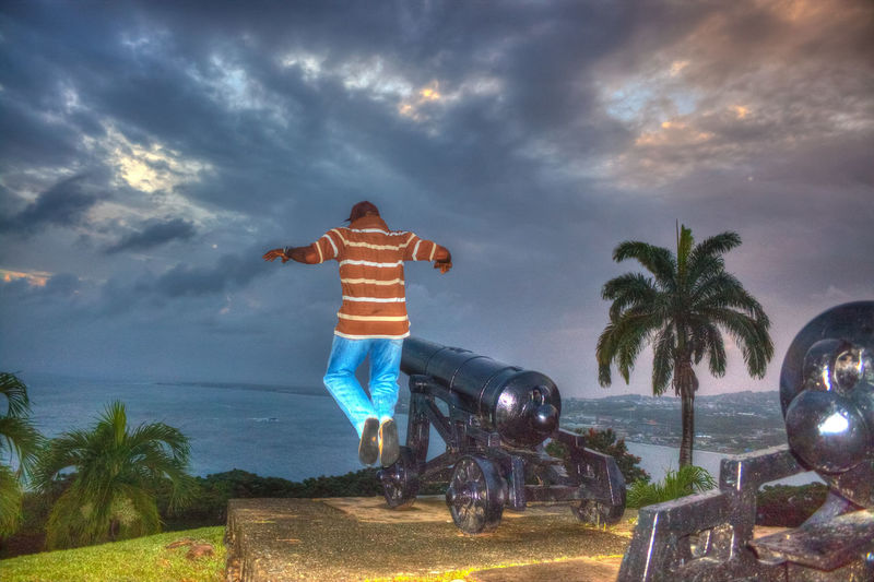 Low Angle View Sculpture Tourism Tobagoisland Creativity Mid-air Freedom Tobago Canon Fortgeorge Sunset_collection Sunsets Jumping Jumping For Joy