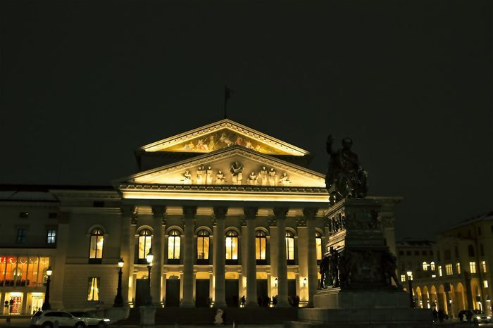 Staatsoper München Architectural Column Architecture Building Exterior Built Structure City History Illuminated Night No People Outdoors Sculpture Sky Staatsoper Statue Travel Destinations