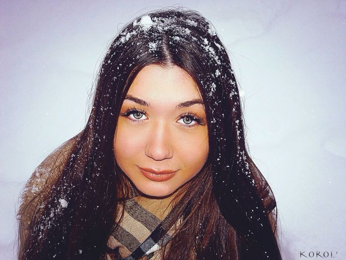 Girl Nice White Snow Portrait