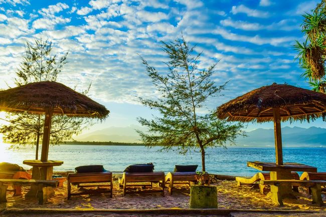 Halcyon Landscape Morning Sky Sunrise Beach Life Beautiful Morning Sealife Adventure Beach Sea Water Sky Outdoors Cloud - Sky Horizon Over Water Thatched Roof No People Scenics Beauty In Nature Vacations Summer Nature Sand Tree Protection Day EyeEmNewHere
