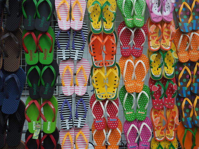 Chatuchak market Multi Colored Choice For Sale Variation Retail  Arrangement Pattern Retail Display Market Stall Slippers