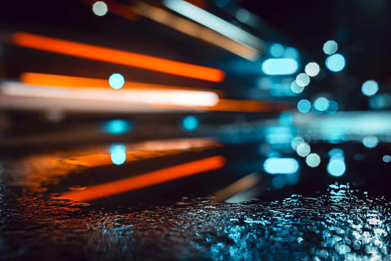 Car lights after rain