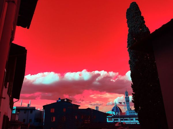 Building Exterior Built Structure Architecture Sky Sunset Cloud - Sky Low Angle View Outdoors Silhouette Red City Nature Day No People