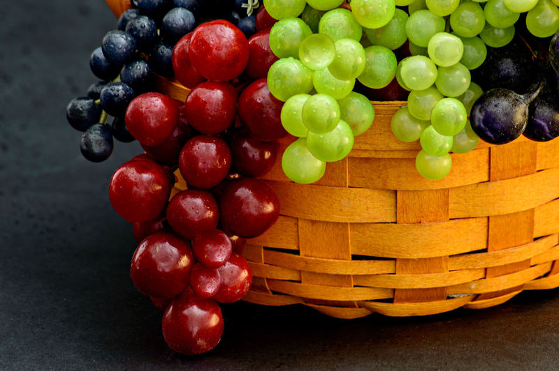 Close-up of multi colored grapes in wicker backer