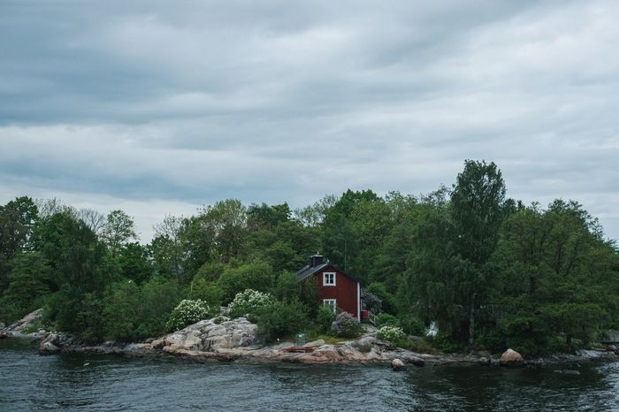 Architecture Beauty In Nature Cloud - Sky Day Flag Lake Nature No People Outdoors Scenics Sky Stockholm Archipelago Tranquility Tree Water