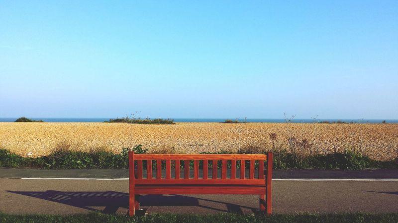 'Memories' Bench Seaside Sea Pebbles Sand Deal Sky Grass Outside -- B