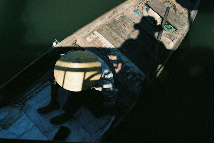 High angle view of woman in pond