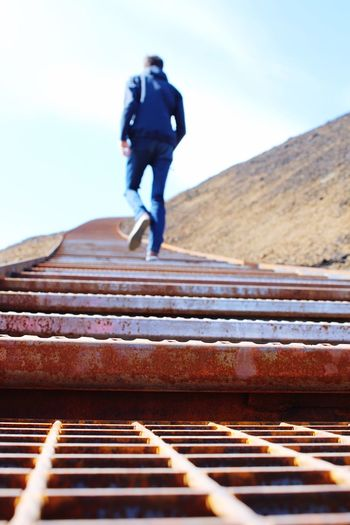 Focus On Foreground Heaven Iceland Iron Iron Stairs Leaving Mountain Rust See You Selective Focus Sky Stairway To Heaven The Way Forward Volcano Volcano Crater Dramatic Angles Focus Object
