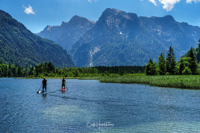 Adventure Beauty In Nature Lake Leisure Activity Lifestyles Mountain Nature Paddleboarding Real People Water Waterfront Let's Go. Together. Sommergefühle