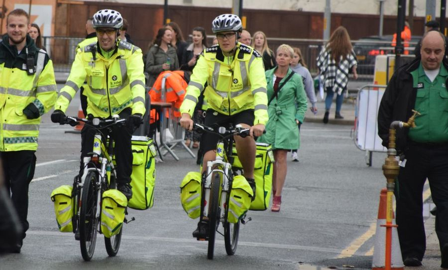 Bikes Cyclist First Aid FREEDOM Festival Hull Hull 2017 Hull City Of Culture 2017 Hull2017 St Johns Street Yellow