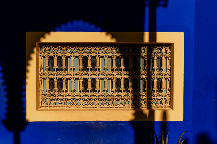 Morocco Marrakesh Marrakech Majorelle Garden Majorelle No People Window Sunlight Shadow Design Architecture Built Structure Building Exterior Blue Illuminated Geometric Shape Architecture And Art Pattern Wall - Building Feature Outdoors Tourist Destination Tourist Attraction  Travel