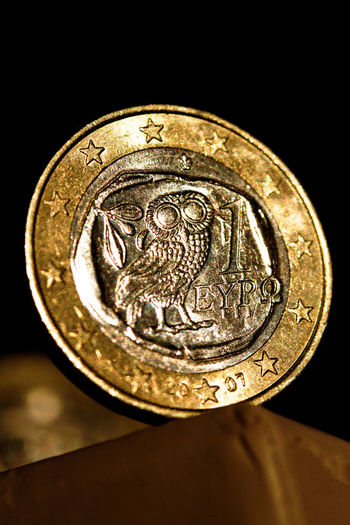 1 1 Euro Close-up Coin Currency Currency Currency Union Day Europe Finance Greece Greek Greek Euro Money No People Owl State Bankruptcy