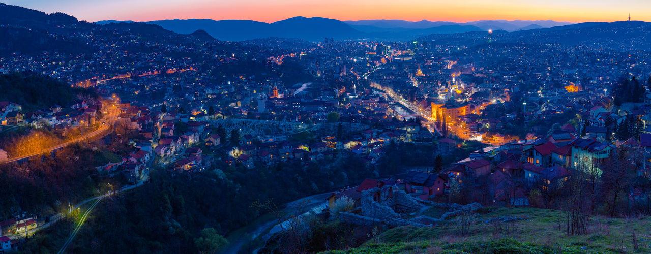 Sarajevo Blue Hour Blue Hour City Downtown Orange Sky Blue City Lights High Angle View Muntains Sarajevo Sunset