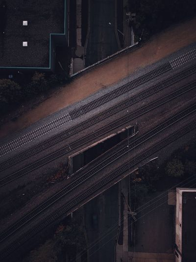 High angle view of railway tracks