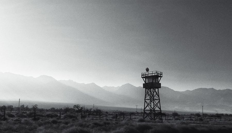 Manzanar ruins Field Sky Outdoors California Desert Independence California Built Structure No People Watchtower Guardtower Historic