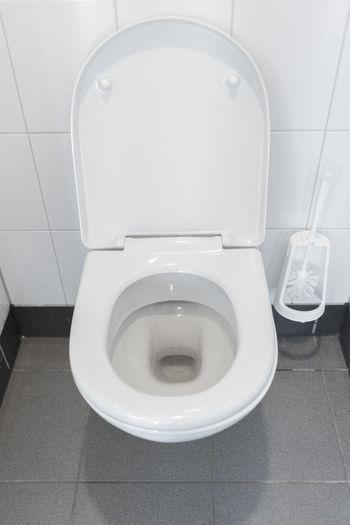 High angle view of white bathroom