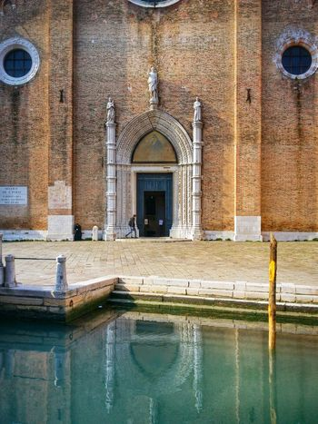 Venezia Venice Italy Travel Photography Travel Traveling Mobile Photography Fine Art Architecture Architectural Heritage Churches Facades Canals Lagoon Water Reflections And Shadows Boat Poles Mobile Editing