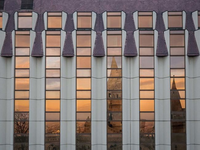 Architecture Building Exterior Built Structure Brick Wall Pattern Outdoors Building Feature Close-up Day Architecture EyeEm Gallery EyeEm Best Shots Eyeemphotography Repetition Multi Colored Wall - Building Feature Window Backgrounds Glass Reflection Glass Purple Sunset Budapest Millennial Pink