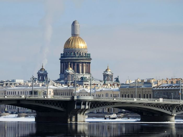 River Sankt-Petersburg Russia Colors Of Sankt-Peterburg Sankt-peterburg Walking Around Sunnyday☀️ Sun Ice Neva River Blagoveshenskii Bridge Bridge - Man Made Structure Bridge St.Isaac's Cathedral Church Springtime Sky North