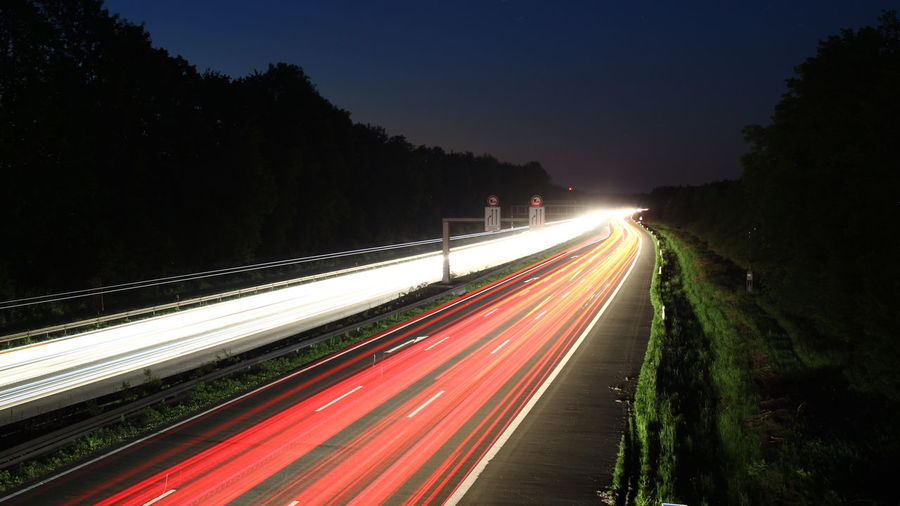 A1 Richtung Bremen Speed Night Traffic Long Exposure Motion Road Outdoors No People Sky Traffic Autos Highway Road Car Münster Germany Vehicle Light Traffic Lights Münsterland Cars Cold Temperature
