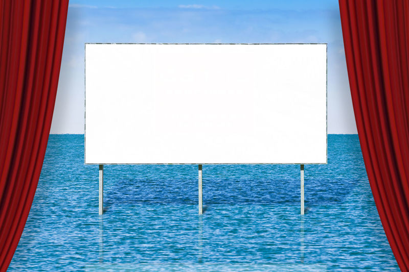 Concepts Advertisement Architecture Backgrounds Billboard Blank Blank Billboard Blue Business Cloud - Sky Communication Copy Space Day Empty Marketing Message Nature No People Sea Seascape Sky Water White Color Window