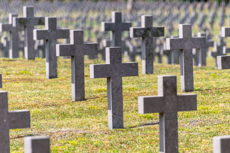 A lot of small, concrete crosses at the german war cemetery in the netherlands.