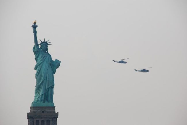 Statue Of Liberty New York Helicopter Liberty Island USA Big Apple Cold Days Sea Vacation