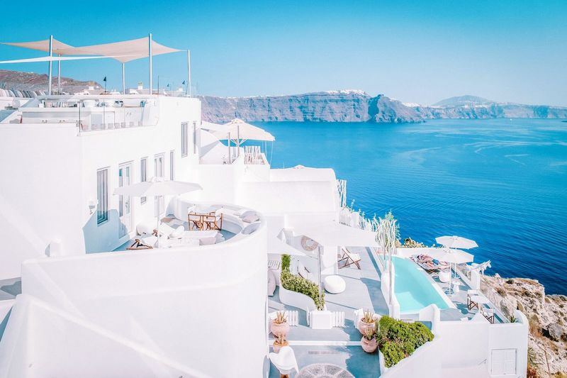 Santorini Santorini, Greece Santorini Island Santorini Greece Santorini View Hotel Swimpool EyeEm Selects Water Sea City Swimming Pool Beach Cityscape Luxury Hotel Blue Luxury Business Finance And Industry Whitewashed Orthodox Church Seascape Coast Ocean Calm Wave Rocky Coastline Beach Umbrella Shore Infinity Pool Deck Chair Horizon Over Water