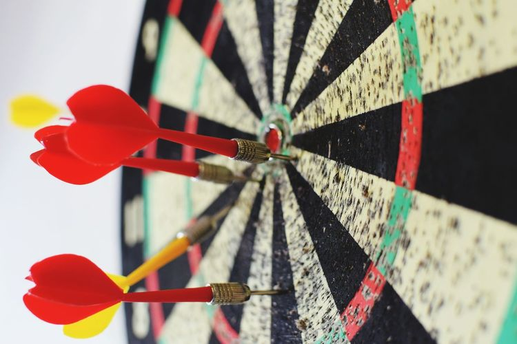 Close-up of red dart board