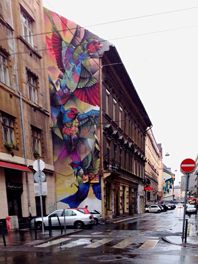 Mural Streetart Birds Birdistheword Budapest Hungary Rainy Day