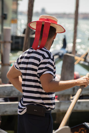 A Day in Venice Day Gondolier Hat Occupation One Person Rear View Striped Three Quarter Length Travel Destinations Travel Photography