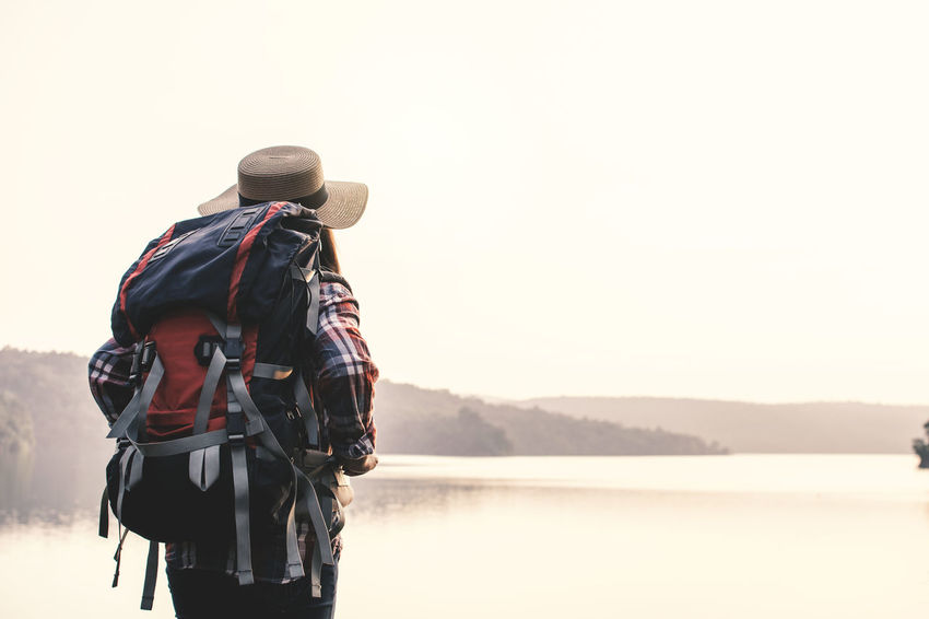 Backpack Hat Lake Lifestyles Looking At View Mountain Nature One Person Water