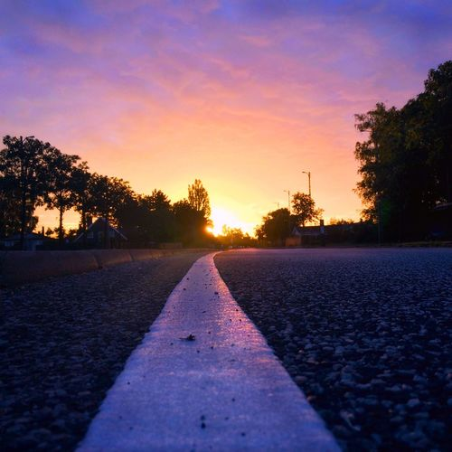 Having a wonderful weekend Sunset Road Tree Street The Way Forward Outdoors No People Asphalt Scenics Beauty In Nature Sky Sunlight Nature