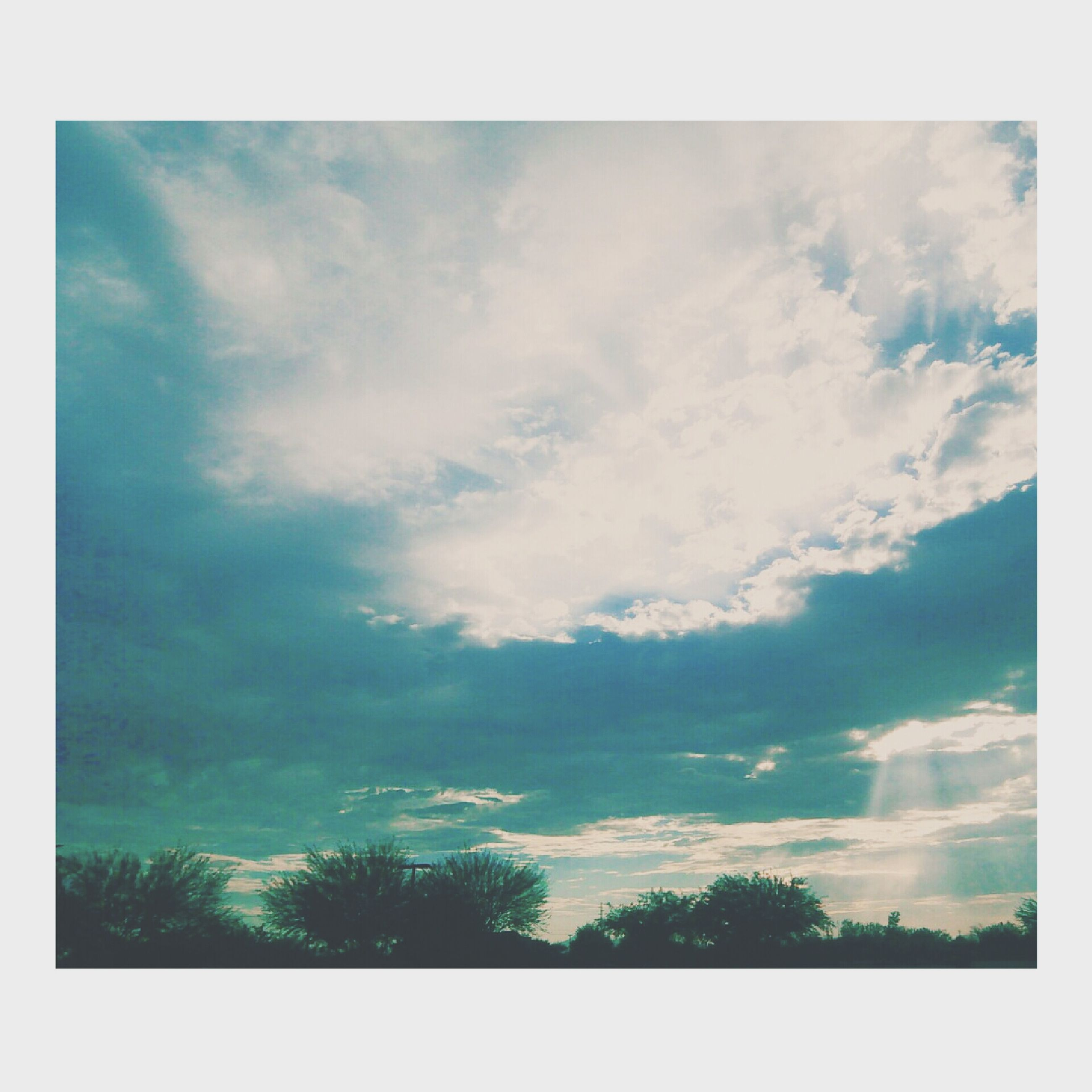 sky, transfer print, cloud - sky, tranquility, tranquil scene, beauty in nature, scenics, auto post production filter, cloudy, nature, tree, cloud, low angle view, idyllic, weather, outdoors, day, blue, no people, overcast