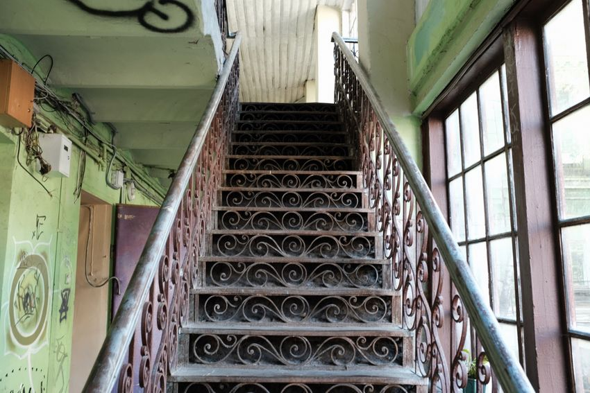 Stairs_collection Kiew Indoors  Architecture Metal No People Built Structure Low Angle View Rusty Pattern Window Abandoned Old