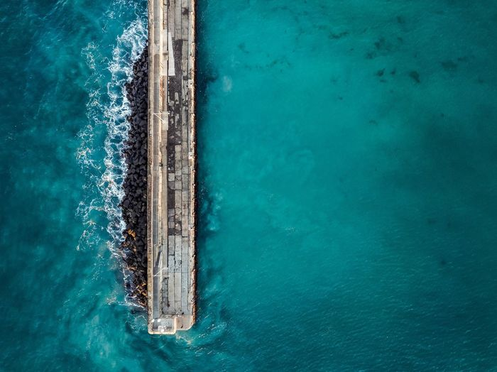 Warrnambool Breakwater from Above Dronephotography Drone  Waves Blue Pier Ocean Breakwater Water Sea Blue Turquoise Colored High Angle View Day Nature Beauty In Nature Outdoors Motion No People Waterfront Wake - Water