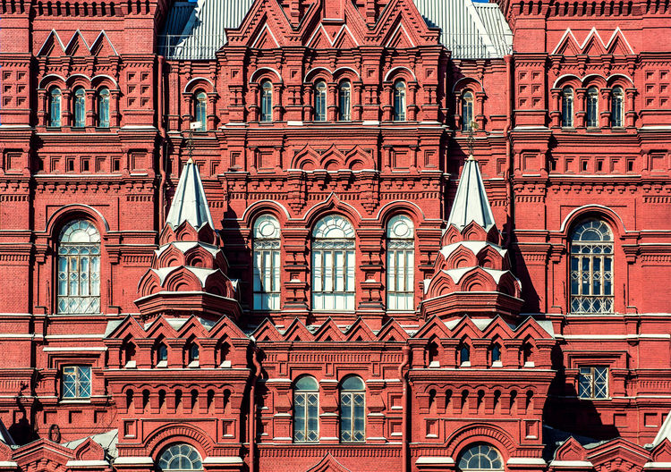 Facade of State Historical Museum on Red Square in Moscow, Russia Architecture Moscow Red Square Russia Russian Culture State Historical Museum State Historical Museum Moscow Architecture Building Exterior Built Structure Day Facade Building Fragment Heritage Heritage Building Landmark National Landmark Outdoors Palace Red Brick Tower Window